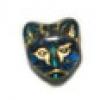 Glass Bead Cat Head 11mm Dark Aqua/Gold Detailed - Strung